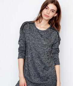 Camiseta manga larga jaspeada antracita.