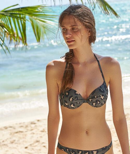 Sujetador bikini push up estampado de leopardo. Copa B