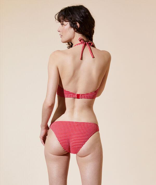 Sujetador bikini bandeau, cuadros Vichy, copas extraíbles;${refinementColor}
