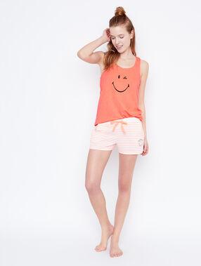 Top estampado smiley naranja.