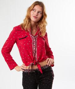 Camisa pijama estampado bandana rojo.