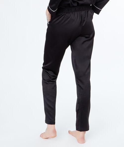 Pantalón de satén bolsillos contrastados
