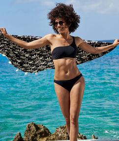 Toalla de playa redonda algodón negro.