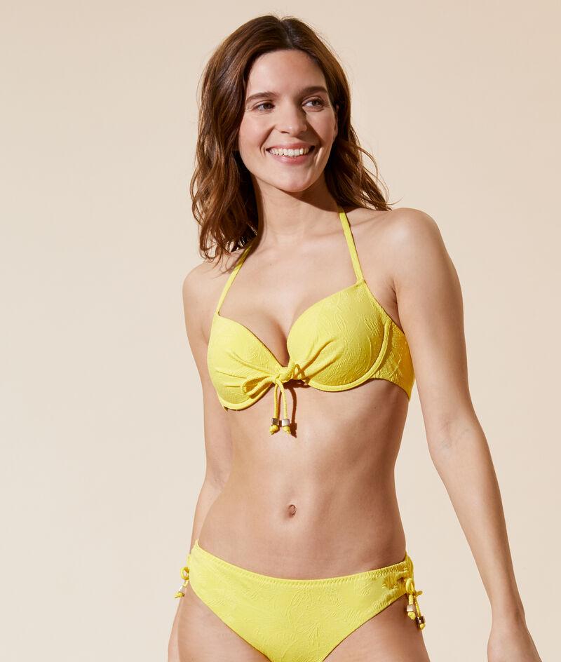 Sujetador bikini push up, bordado palmeras. Copa B-E