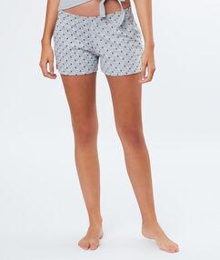 Pantalón corto estampado a lunares c.gris.