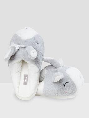 Zapatillas motivos conejo c.gris.