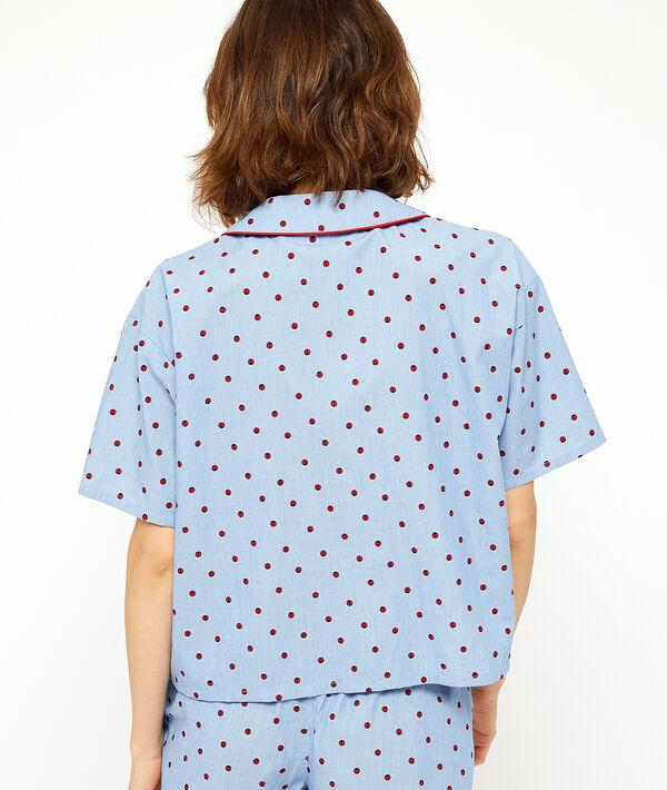 Camisa manga corta estampado de lunares;${refinementColor}