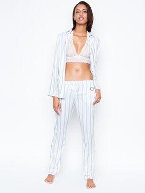 Pantalón estampado a rayas blanco.