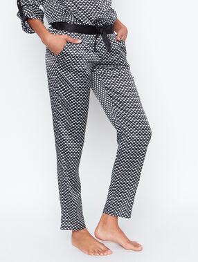 Pantalón satén estampado a rayas negro.