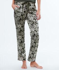 Pantalón estampado floral caqui.