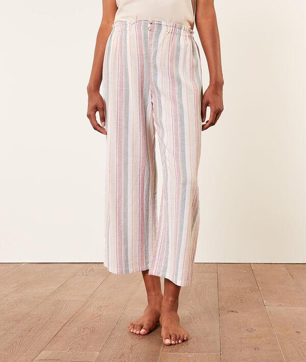 Pantalón pijama 7/8 estampado de rayas;${refinementColor}