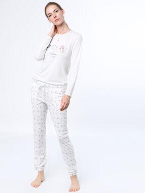 Camiseta manga larga unicornios blanco.