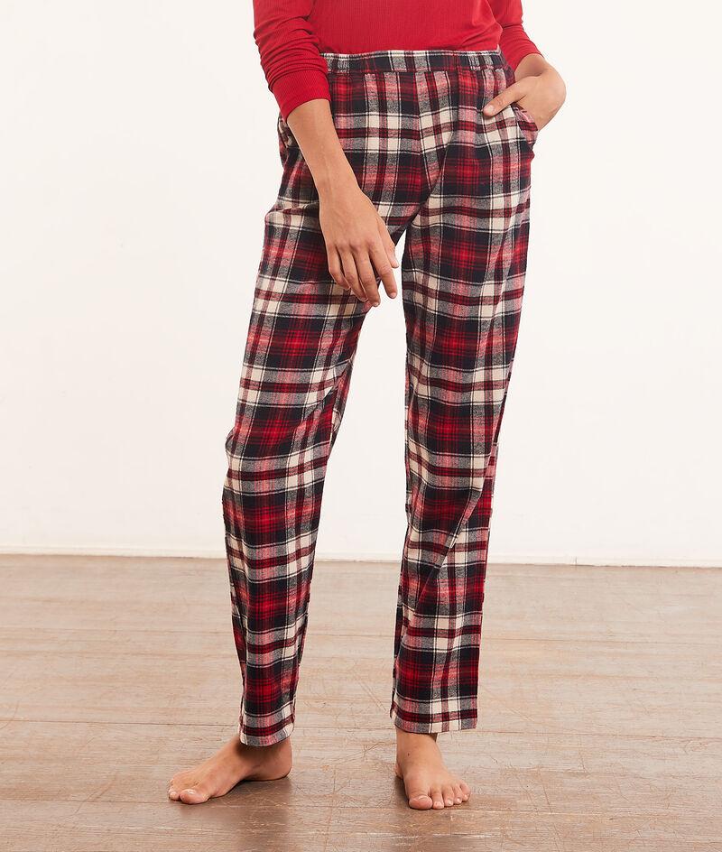 Pantalón pijama estampado de cuadros;${refinementColor}
