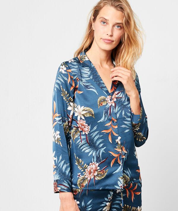 Camisa pijama de satén estampada