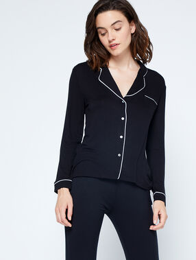 Camisa pijama bicolor negro.