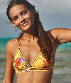 Sujetador bikini triangular estampado floral amarillo.