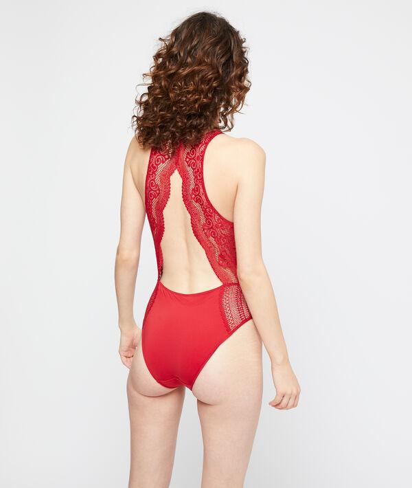 Body espalda abierta de encaje gráfico