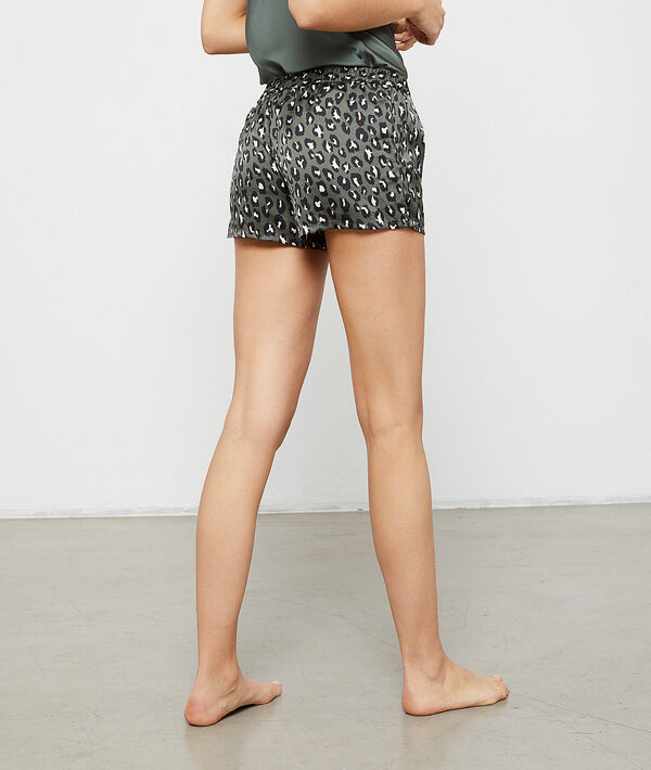 Pantalón de satén estampado leopardo