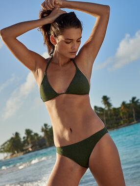 Sujetador bikini triangular tejido brillante caqui.