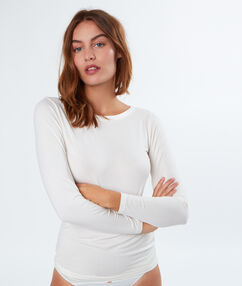 Camiseta isotérmica cuello barco blanco.