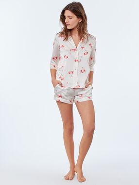 Camisa pijama estampado flamencos crudo.