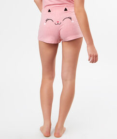 Short dos chat rose.