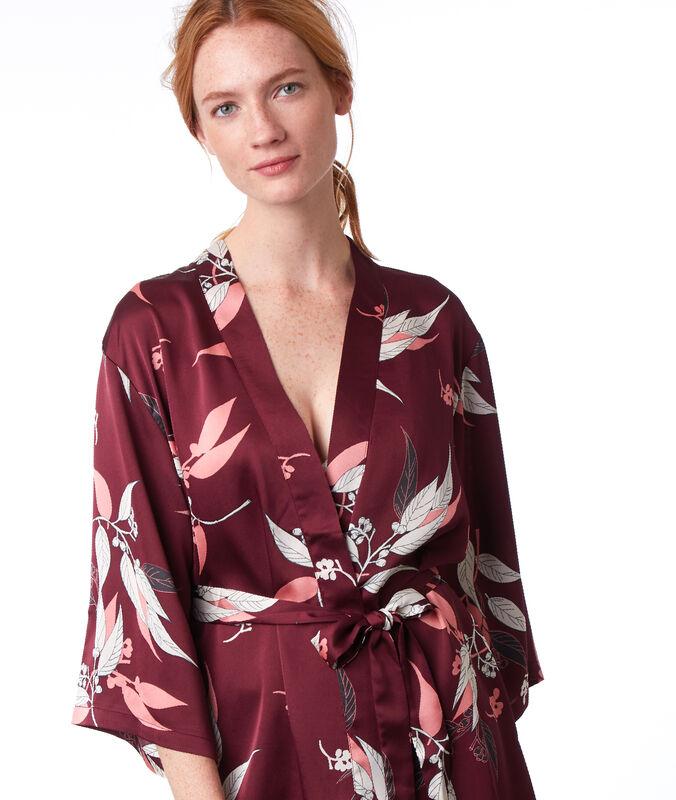 Bata tipo kimono estampado oriental burdeos.