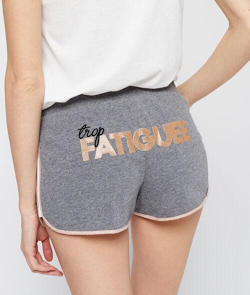 Pantalón corto jaspeado con mensaje