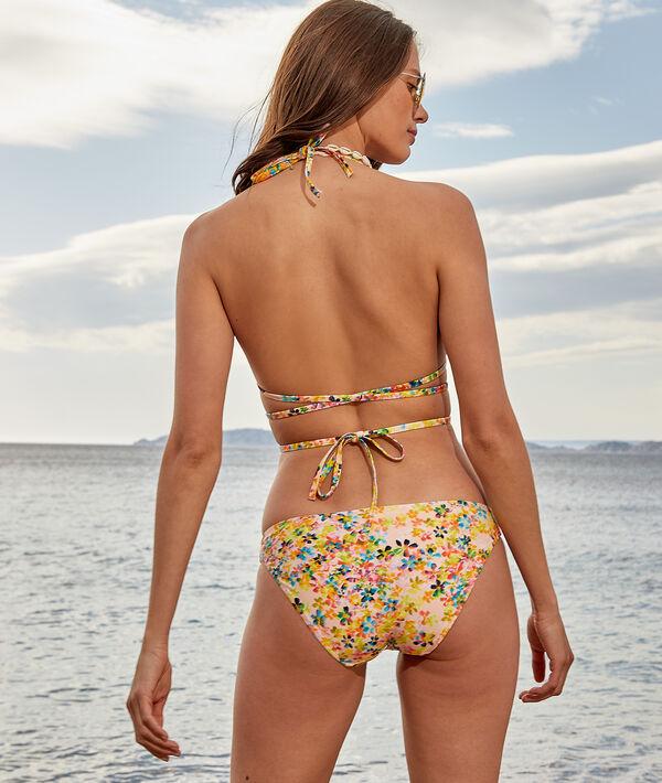 Sujetador bikini triángulo sin aros, estampado floral y multitiras;${refinementColor}