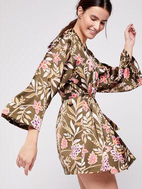Bata tipo kimono de satén estampado floral caqui.