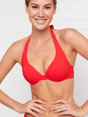 Sujetador bikini push up liso. copa b rojo.