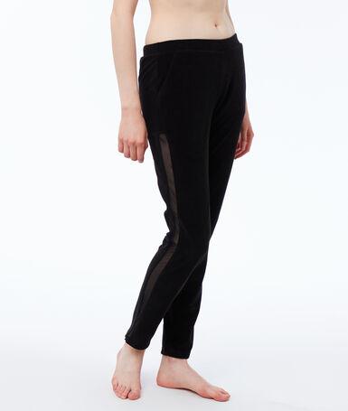 Pantalón terciopelo franja tejido rejilla negro.