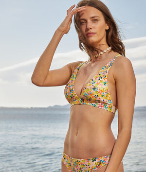 Sujetador bikini triángulo sin aros, estampado floral;${refinementColor}