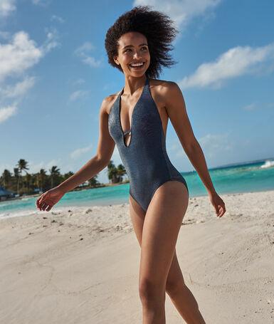 Bañador escotado tejido brillante azul noche.