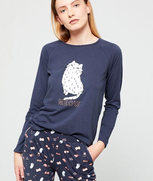 Camiseta 'meow' estampado gato