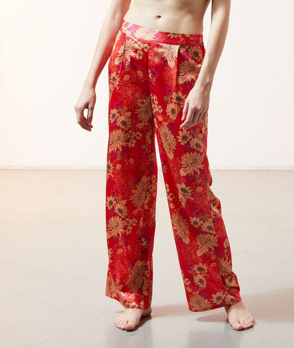 Pantalón de satén, estampado floral;${refinementColor}