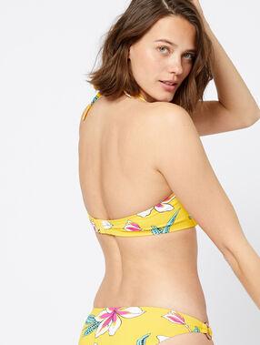 Sujetador bikini con foam, lazo delantero amarillo.