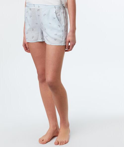 Pantalón de rayas finas estampado gato
