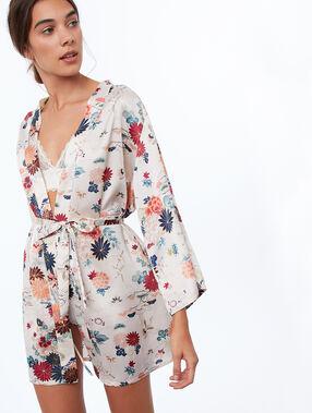 Bata tipo kimono estampado floral crudo.