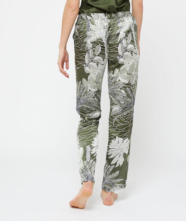Pantalón largo de satén estampado tropical;${refinementColor}