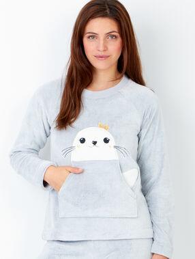 Pijama 2 piezas. pantalón y sudadera tejido peluche gris claro.
