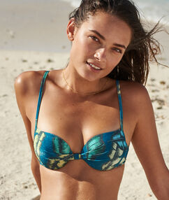 Sujetador bikini push up estampado tropical imp azul verde.