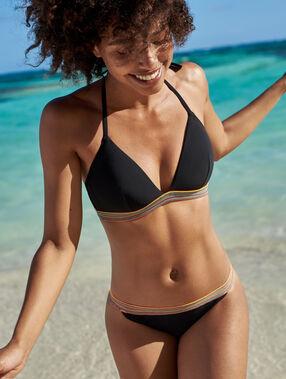 Sujetador bikini triangular franja multicolor negro.