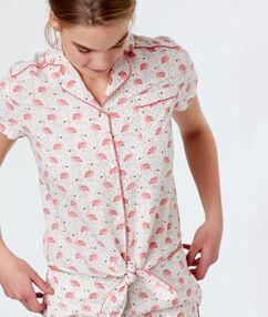 Camisa pijama estampado flamencos rosa.