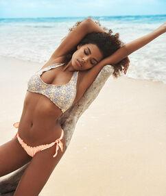 Braguita bikini brasileña lazos laterales coral.