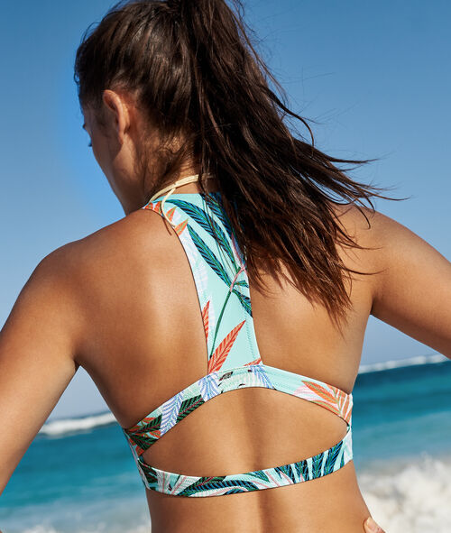 Top bikini estampado tropical