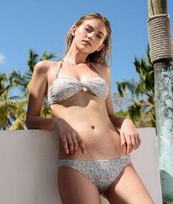 Sujetador bikini tirantes extraíbles estampado liberty turquesa.