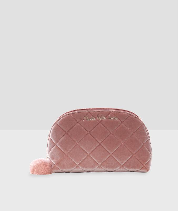 Neceser de terciopelo rosa.