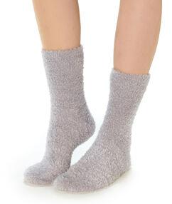 Calcetines lisos tejido peluche c.gris.
