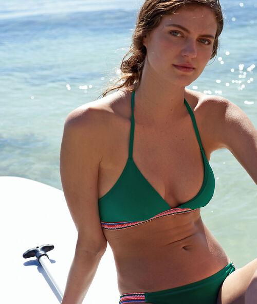 Sujetador bikini triangular liso detalles multicolor